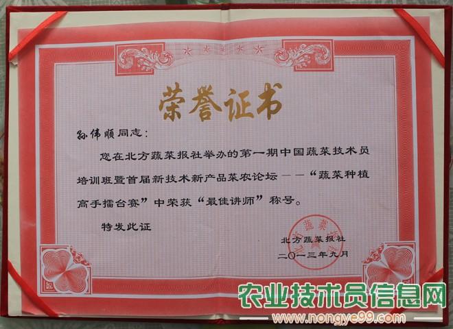 """孙伟顺在""""蔬菜种植高手擂台赛""""中获得""""最佳讲师""""称号"""