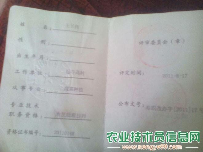 王长伟获得的助理农艺师证书